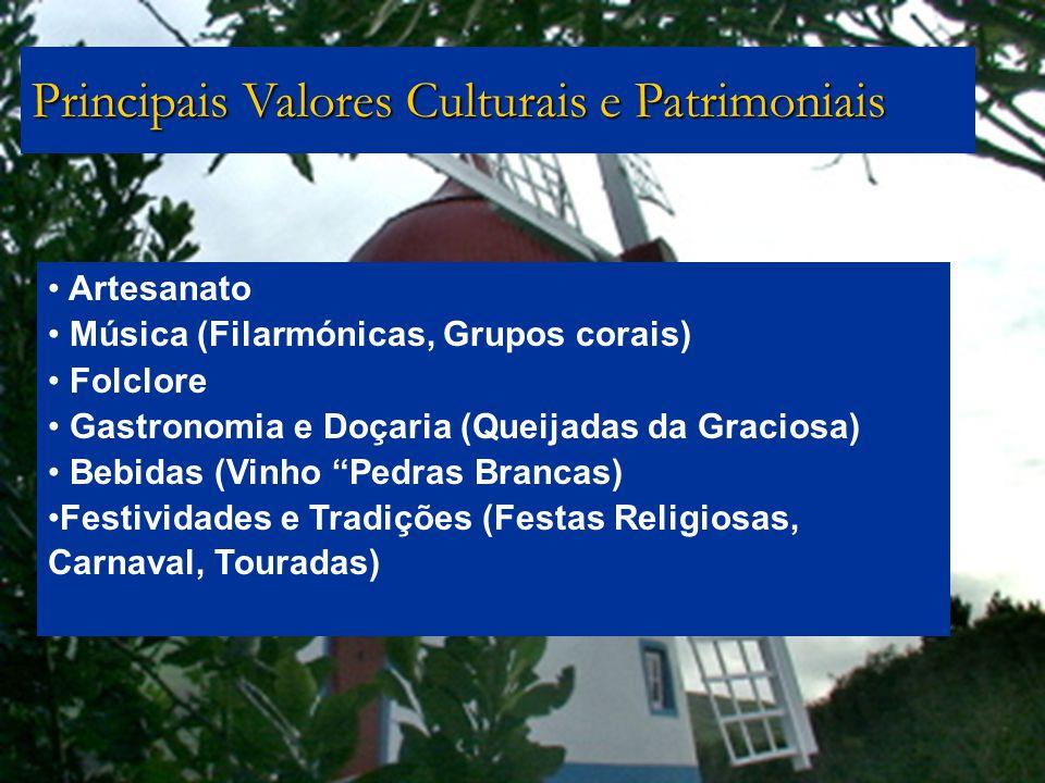 Artesanato Música (Filarmónicas, Grupos corais) Folclore Gastronomia e Doçaria (Queijadas da Graciosa) Bebidas (Vinho Pedras Brancas) Festividades e T