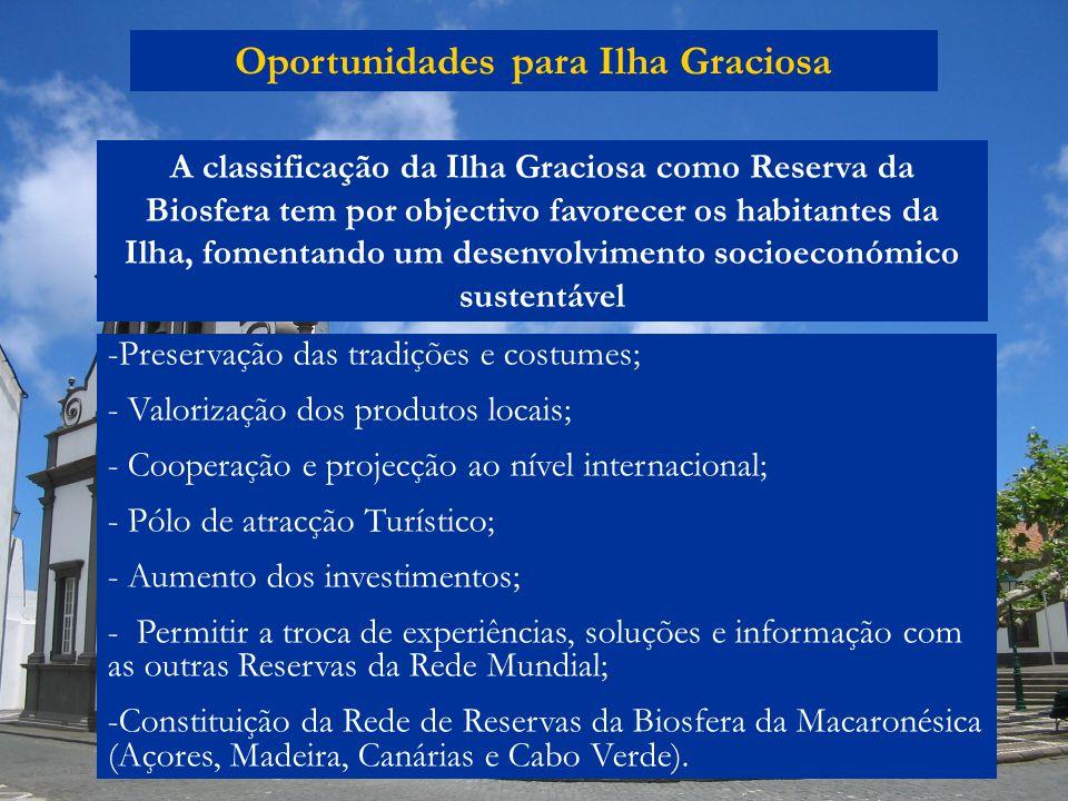 Oportunidades para Ilha Graciosa -Preservação das tradições e costumes; - Valorização dos produtos locais; - Cooperação e projecção ao nível internaci
