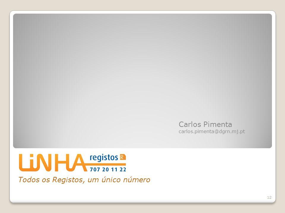 Todos os Registos, um único número 12 Carlos Pimenta carlos.pimenta@dgrn.mj.pt