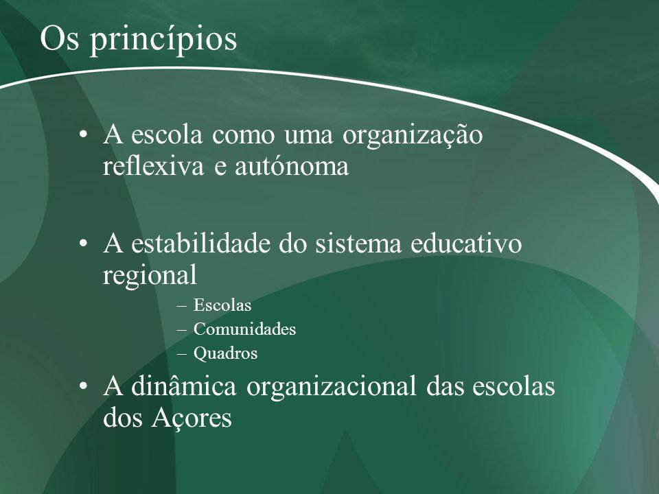 Os princípios A escola como uma organização reflexiva e autónoma A estabilidade do sistema educativo regional –Escolas –Comunidades –Quadros A dinâmic