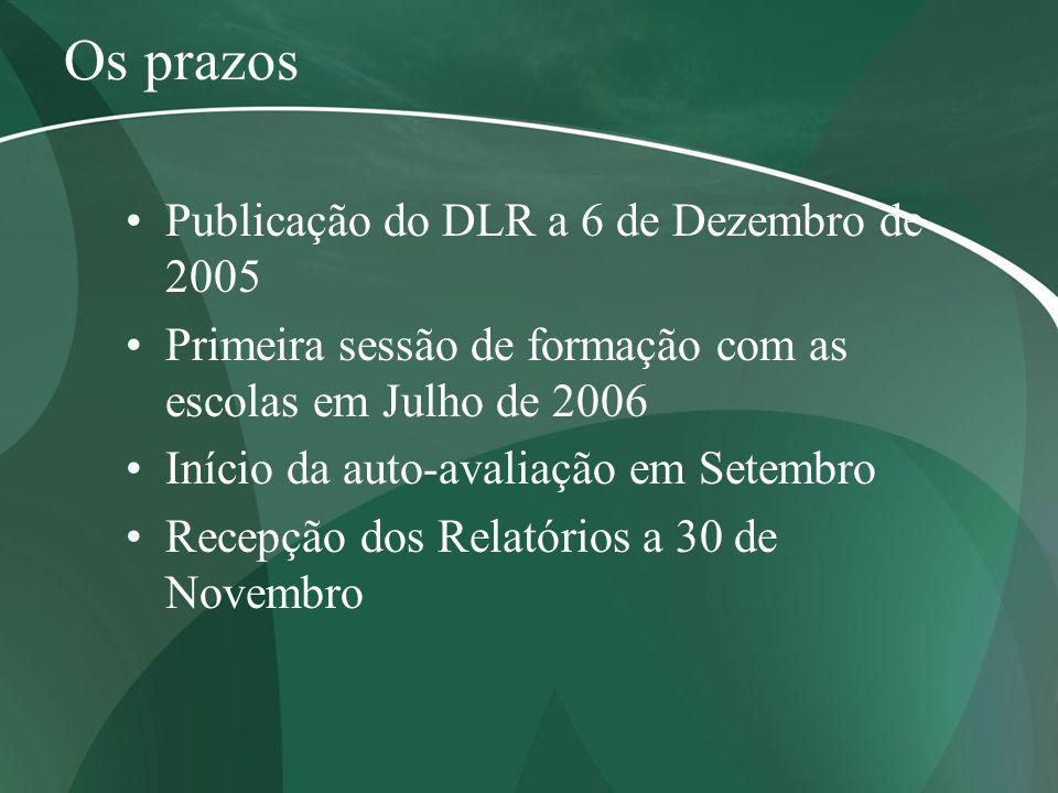 Os prazos Publicação do DLR a 6 de Dezembro de 2005 Primeira sessão de formação com as escolas em Julho de 2006 Início da auto-avaliação em Setembro R