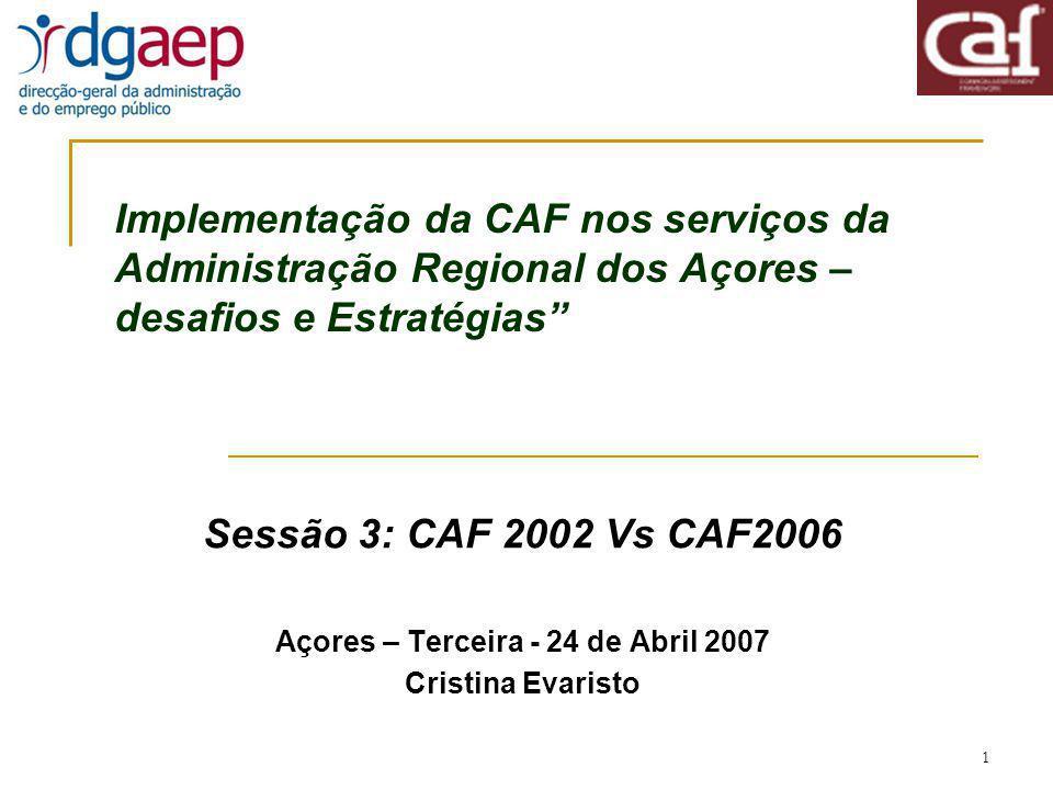 2 Conteúdo da apresentação CAF2002 e CAF2006 - Principais Diferenças Critérios, conceitos e sistema de pontuação CAF2006 Aplicação da CAF – 10 passos para a melhoria contínua Intervenientes – o líder do projecto, líder da Equipa e membros da Equipa Documentos de trabalho para aplicar a CAF 2006