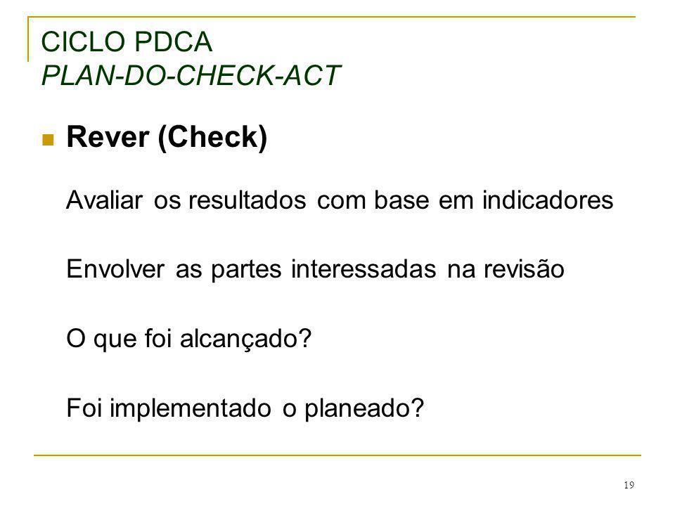 19 CICLO PDCA PLAN-DO-CHECK-ACT Rever (Check) Avaliar os resultados com base em indicadores Envolver as partes interessadas na revisão O que foi alcan