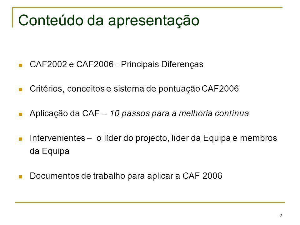 2 Conteúdo da apresentação CAF2002 e CAF2006 - Principais Diferenças Critérios, conceitos e sistema de pontuação CAF2006 Aplicação da CAF – 10 passos
