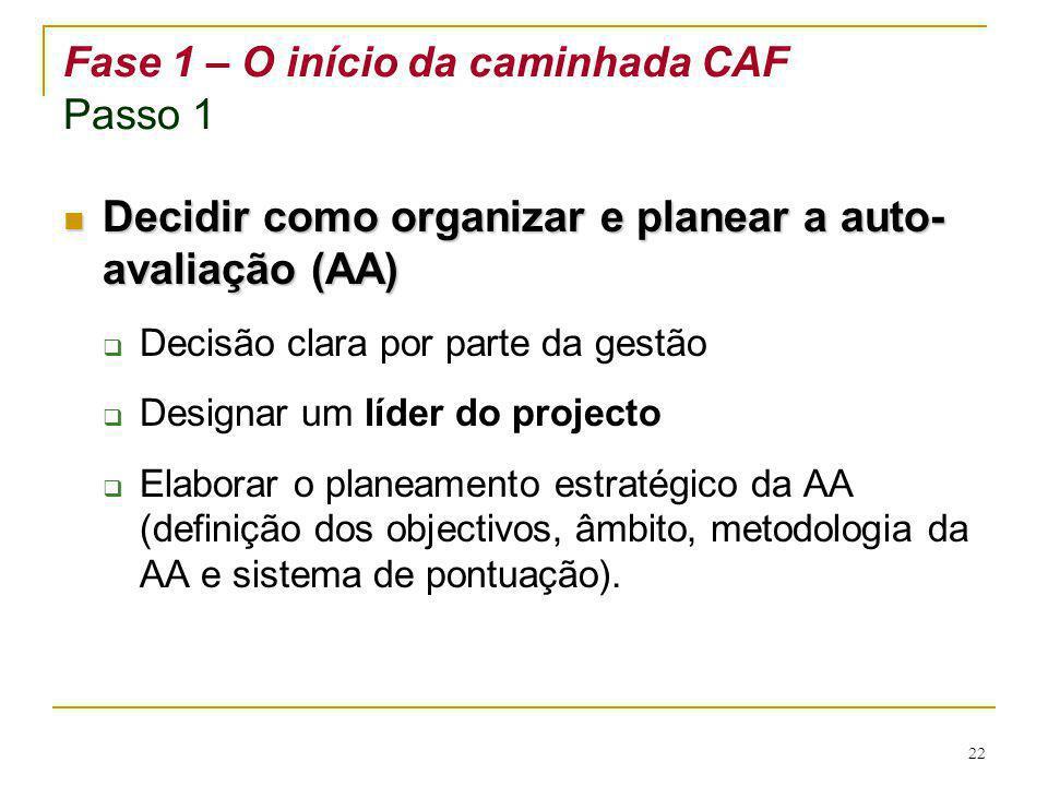 22 Fase 1 – O início da caminhada CAF Passo 1 Decidir como organizar e planear a auto- avaliação (AA) Decidir como organizar e planear a auto- avaliaç