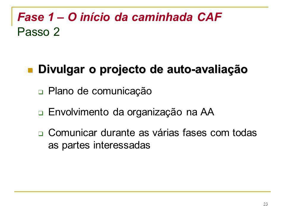 23 Fase 1 – O início da caminhada CAF Passo 2 Divulgar o projecto de auto-avaliação Divulgar o projecto de auto-avaliação Plano de comunicação Envolvi