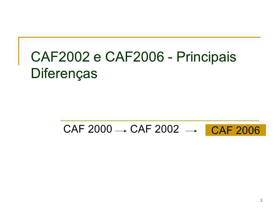 3 CAF2002 e CAF2006 - Principais Diferenças CAF 2000 CAF 2002 CAF 2006