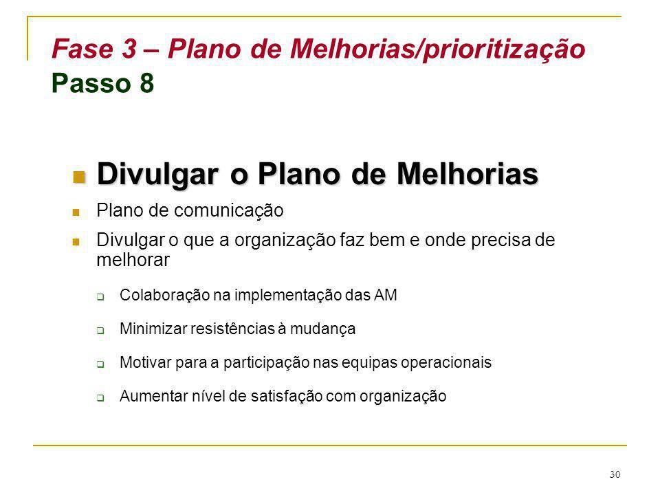 30 Fase 3 – Plano de Melhorias/prioritização Passo 8 Divulgar o Plano de Melhorias Divulgar o Plano de Melhorias Plano de comunicação Divulgar o que a