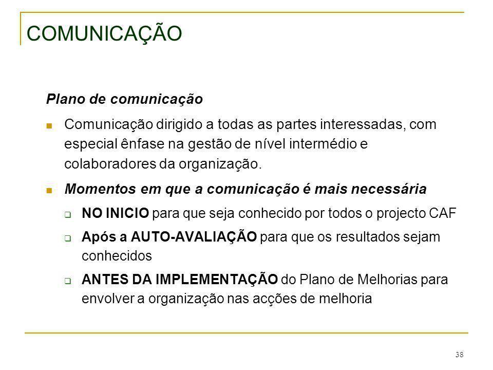 38 COMUNICAÇÃO Plano de comunicação Comunicação dirigido a todas as partes interessadas, com especial ênfase na gestão de nível intermédio e colaborad