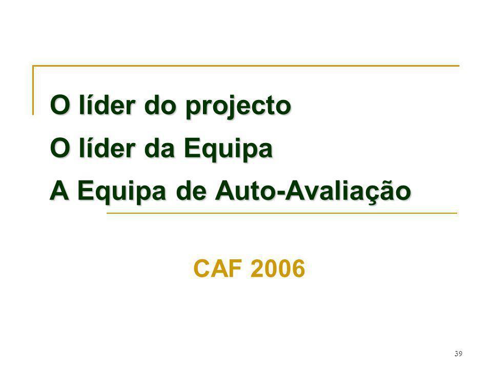 39 O líder do projecto O líder da Equipa A Equipa de Auto-Avaliação CAF 2006