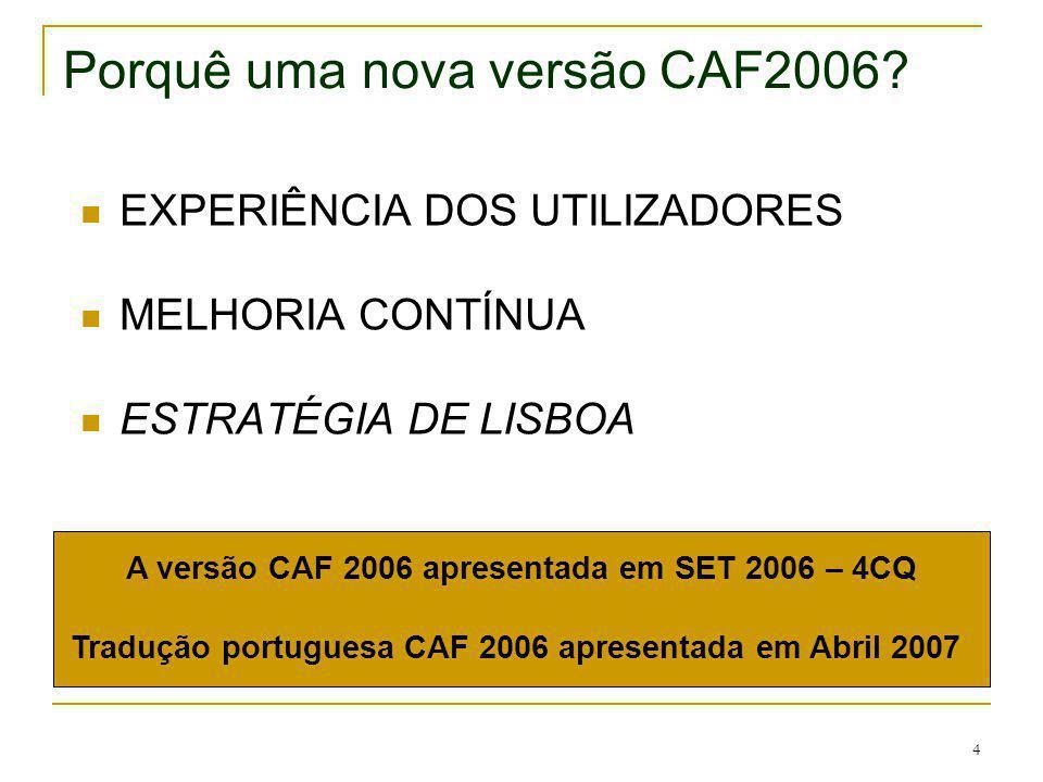 4 Porquê uma nova versão CAF2006? EXPERIÊNCIA DOS UTILIZADORES MELHORIA CONTÍNUA ESTRATÉGIA DE LISBOA A versão CAF 2006 apresentada em SET 2006 – 4CQ