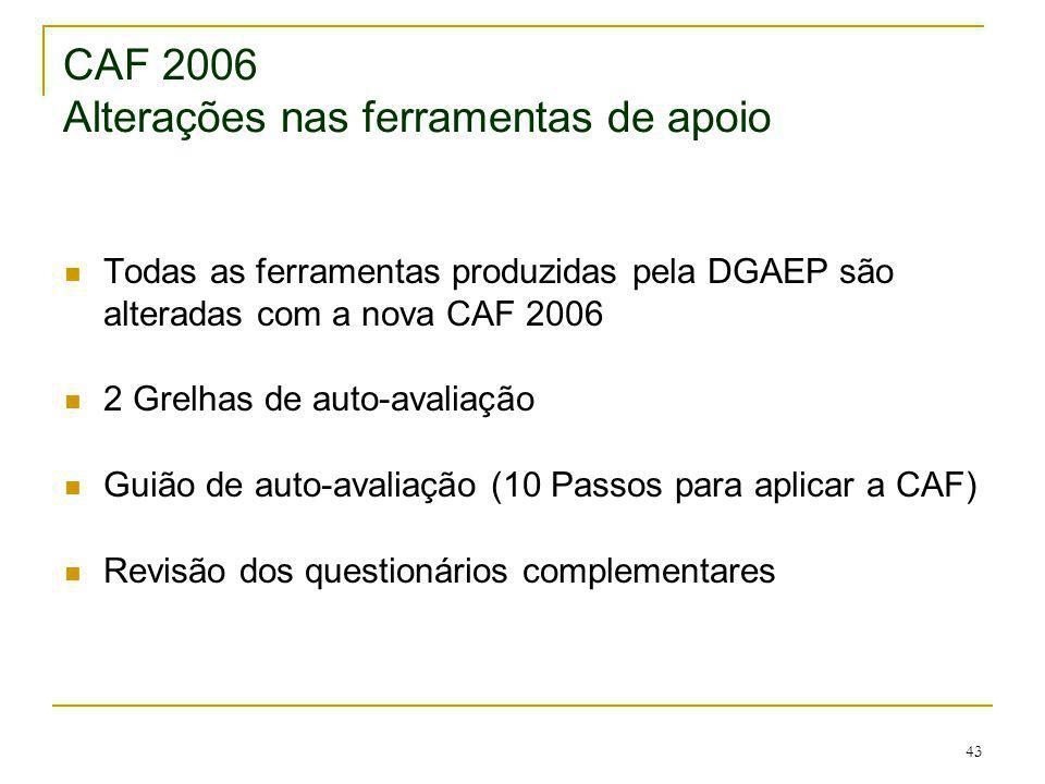 43 CAF 2006 Alterações nas ferramentas de apoio Todas as ferramentas produzidas pela DGAEP são alteradas com a nova CAF 2006 2 Grelhas de auto-avaliaç