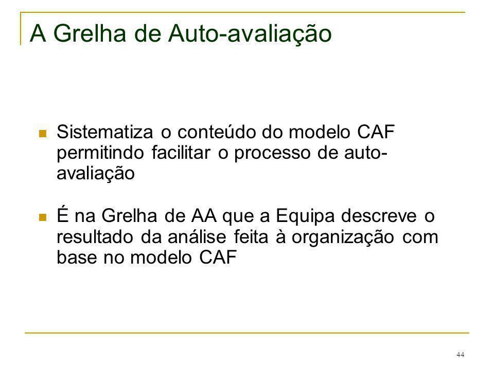 44 A Grelha de Auto-avaliação Sistematiza o conteúdo do modelo CAF permitindo facilitar o processo de auto- avaliação É na Grelha de AA que a Equipa d