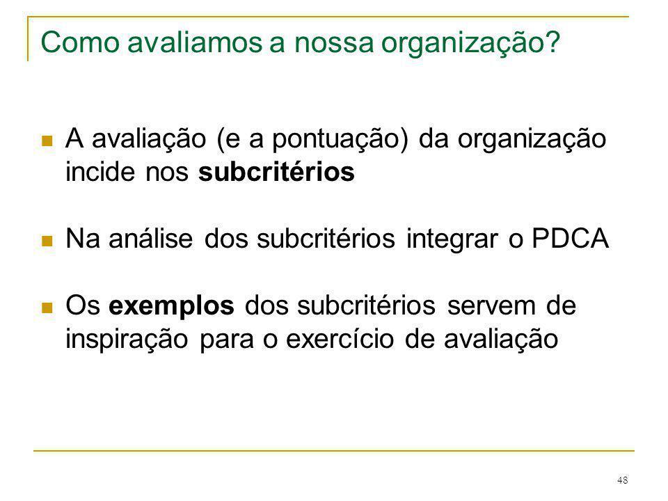 48 Como avaliamos a nossa organização? A avaliação (e a pontuação) da organização incide nos subcritérios Na análise dos subcritérios integrar o PDCA