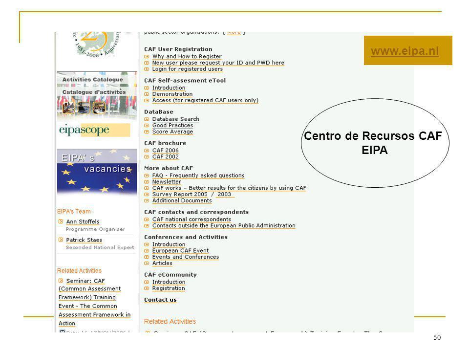 50 www.eipa.nl Centro de Recursos CAF EIPA