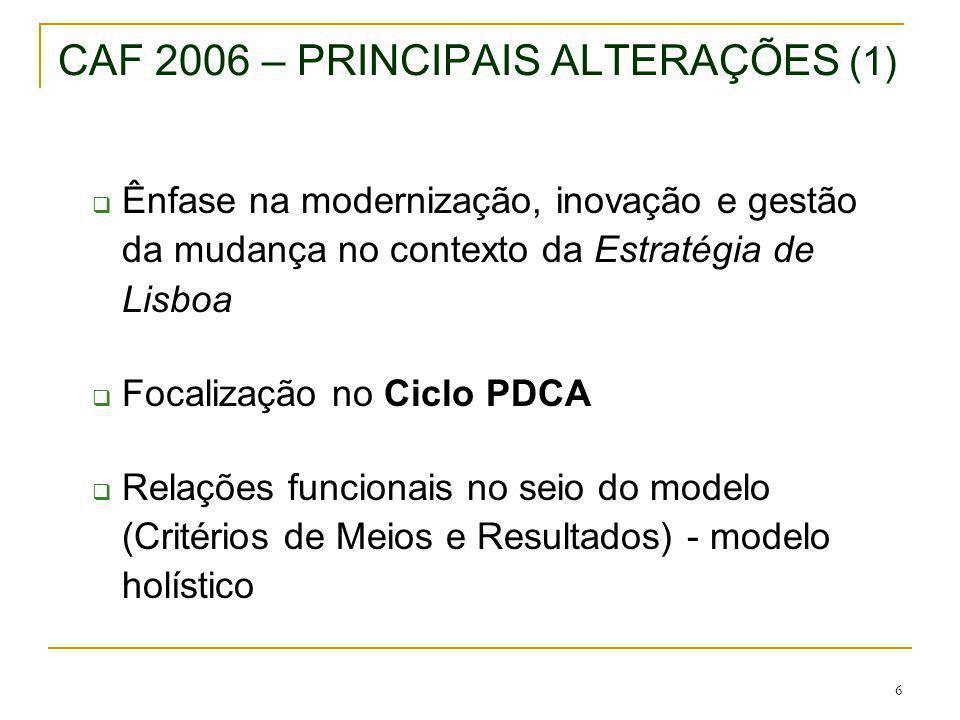 6 CAF 2006 – PRINCIPAIS ALTERAÇÕES (1) Ênfase na modernização, inovação e gestão da mudança no contexto da Estratégia de Lisboa Focalização no Ciclo P