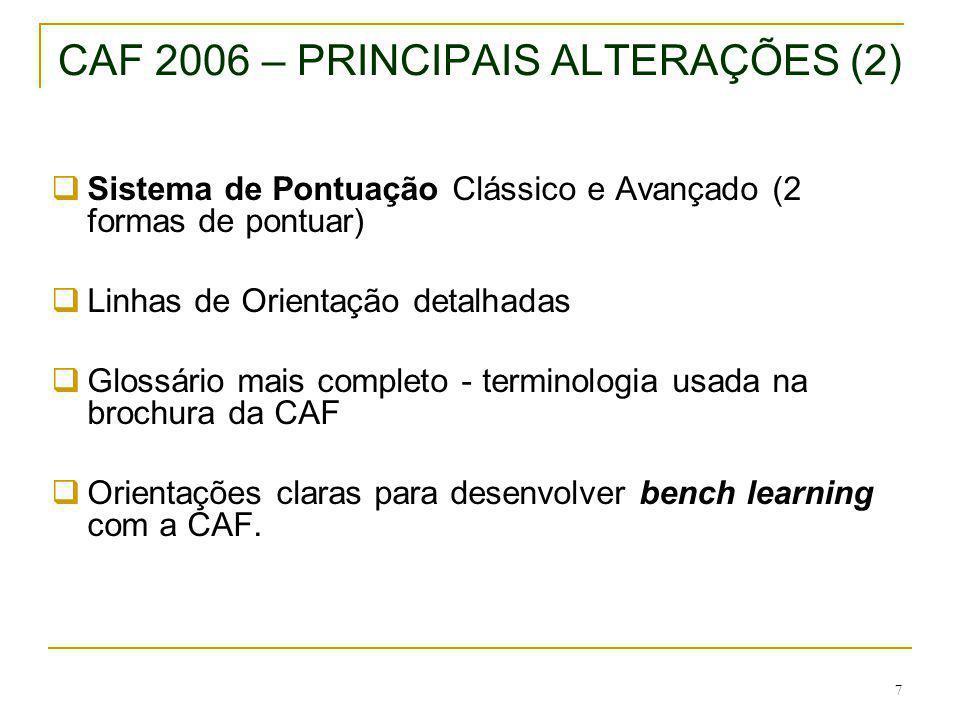 8 ESTRUTURA DA CAF 2006 Liderança Planeamento e Estratégia Pessoas Parcerias e Recursos Processos Resultados orientados para os Cidadãos/clientes Resultados Relativos às Pessoas Impacto na Sociedade Resultados do desempenho chave MEIOS RESULTADOS APRENDIZAGEM E INOVAÇÃO Mudanças: Processos e gestão da mudança (CAF 2002) 28 subcritérios (+ 1)