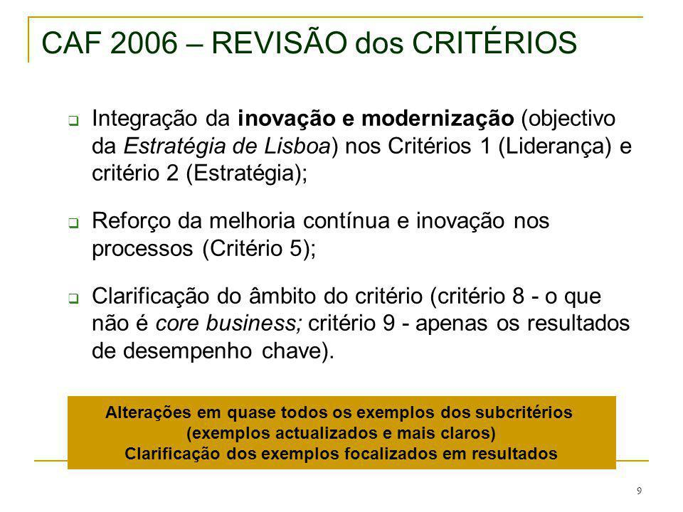 9 CAF 2006 – REVISÃO dos CRITÉRIOS Integração da inovação e modernização (objectivo da Estratégia de Lisboa) nos Critérios 1 (Liderança) e critério 2