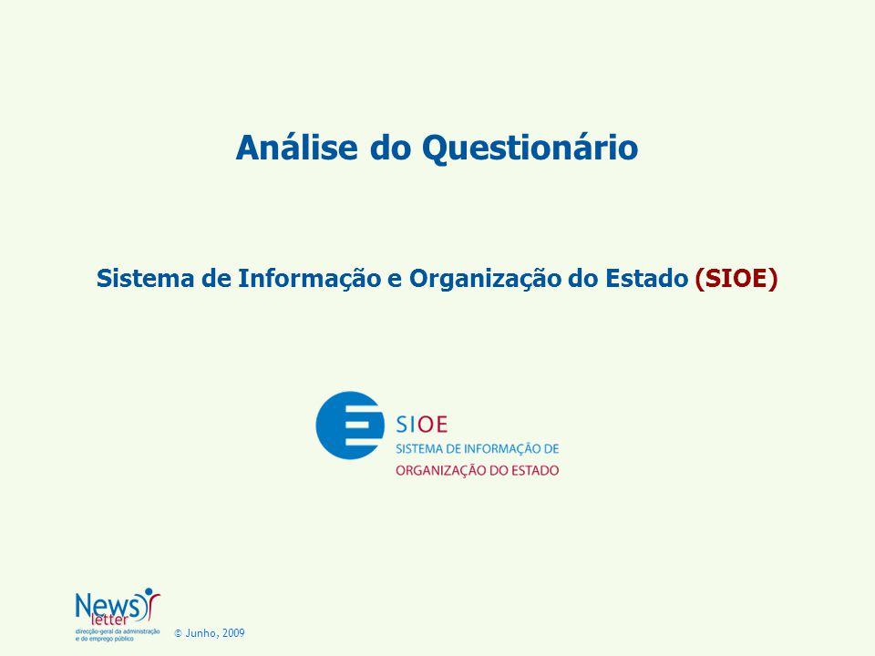 © Junho, 2009 Análise do Questionário Sistema de Informação e Organização do Estado (SIOE)