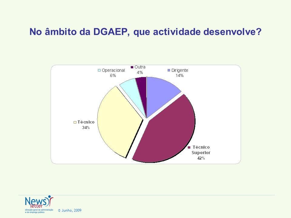 © Junho, 2009 No âmbito da DGAEP, que actividade desenvolve