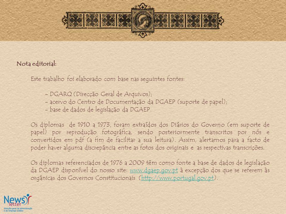 Nota editorial: Este trabalho foi elaborado com base nas seguintes fontes: - DGARQ (Direcção Geral de Arquivos); - acervo do Centro de Documentação da DGAEP (suporte de papel); - base de dados de legislação da DGAEP.