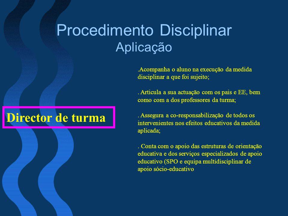 Procedimento Disciplinar Aplicação Director de turma.Acompanha o aluno na execução da medida disciplinar a que foi sujeito;. Articula a sua actuação c