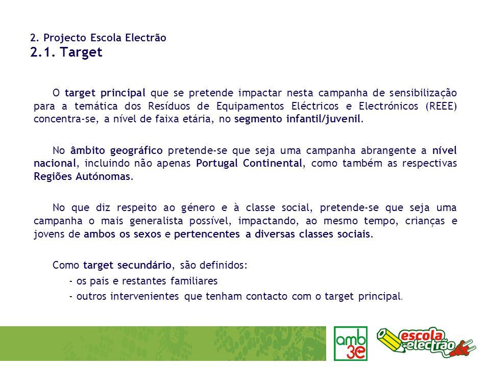 2. Projecto Escola Electrão 2.1. Target O target principal que se pretende impactar nesta campanha de sensibilização para a temática dos Resíduos de E