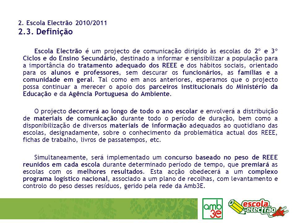 2. Escola Electrão 2010/2011 2.3. Definição Escola Electrão é um projecto de comunicação dirigido às escolas do 2º e 3º Ciclos e do Ensino Secundário,