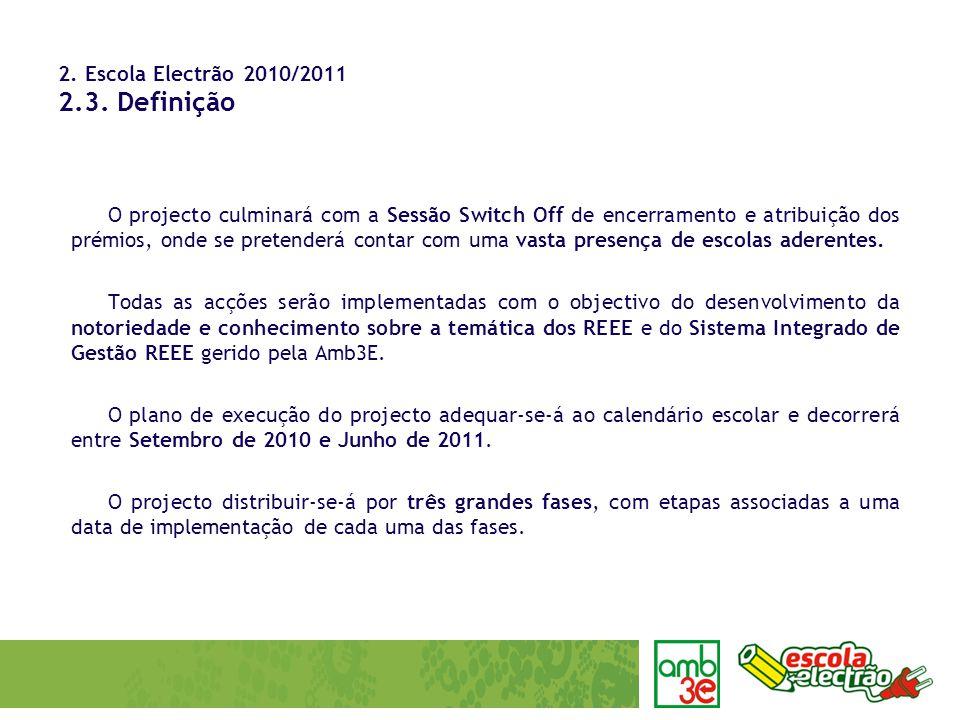 2. Escola Electrão 2010/2011 2.3. Definição O projecto culminará com a Sessão Switch Off de encerramento e atribuição dos prémios, onde se pretenderá