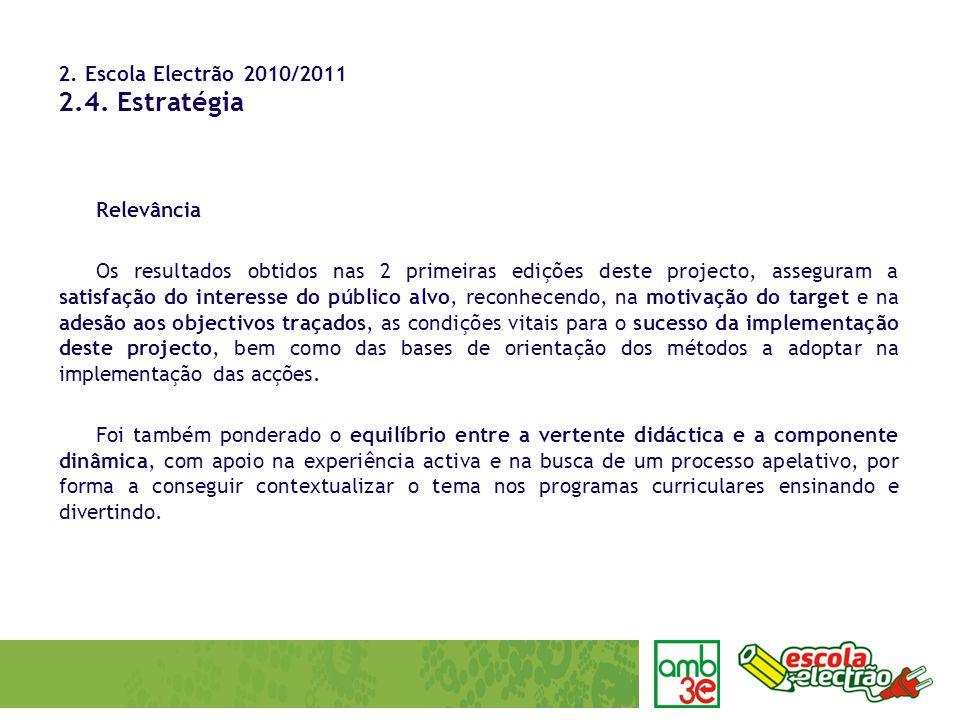 2. Escola Electrão 2010/2011 2.4. Estratégia Relevância Os resultados obtidos nas 2 primeiras edições deste projecto, asseguram a satisfação do intere