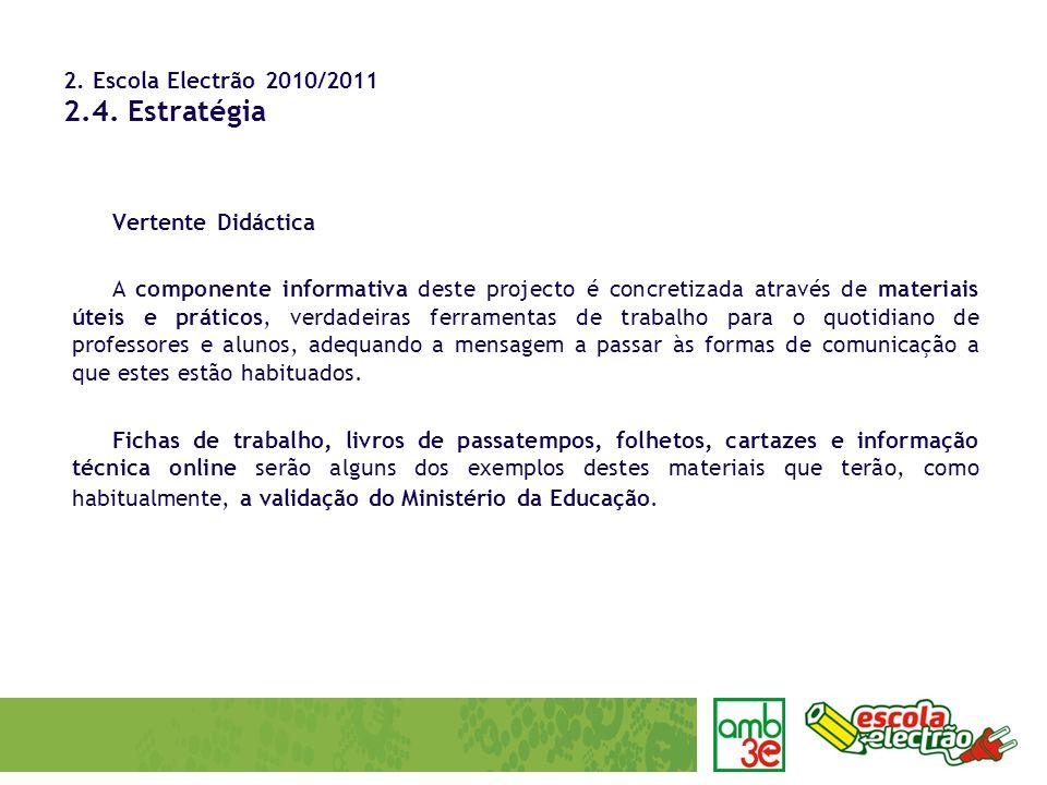 2. Escola Electrão 2010/2011 2.4. Estratégia Vertente Didáctica A componente informativa deste projecto é concretizada através de materiais úteis e pr