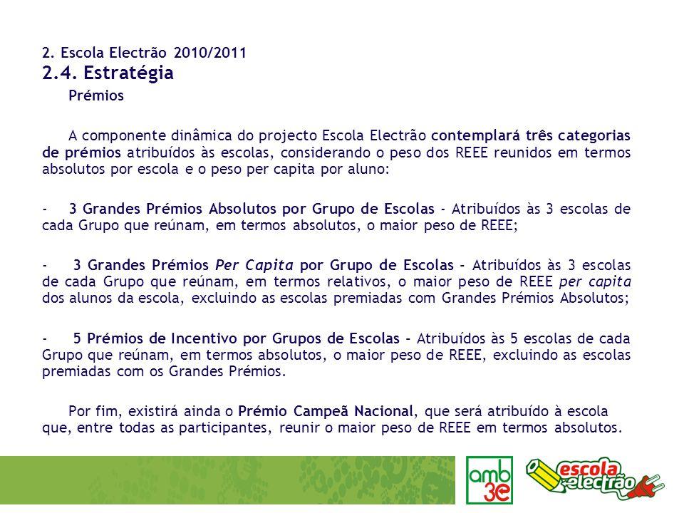 2. Escola Electrão 2010/2011 2.4. Estratégia Prémios A componente dinâmica do projecto Escola Electrão contemplará três categorias de prémios atribuíd