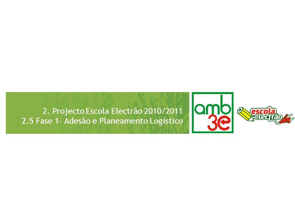 2. Projecto Escola Electrão 2010/2011 2.5 Fase 1- Adesão e Planeamento Logístico