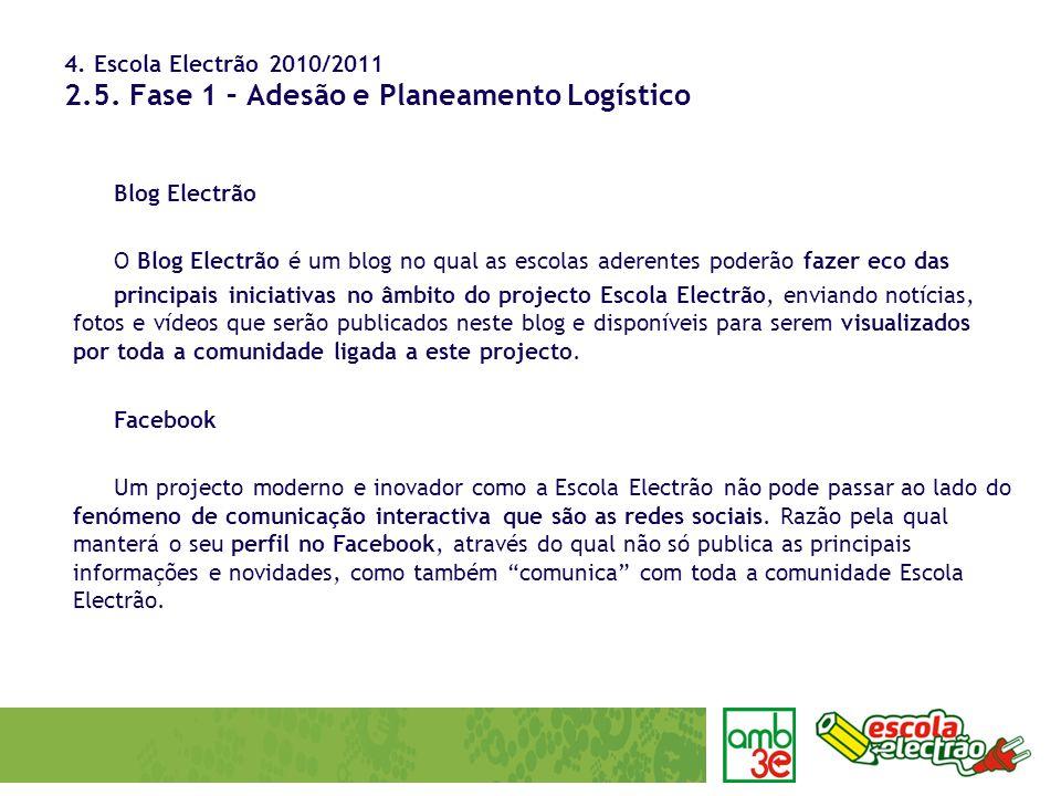 4. Escola Electrão 2010/2011 2.5. Fase 1 – Adesão e Planeamento Logístico Blog Electrão O Blog Electrão é um blog no qual as escolas aderentes poderão