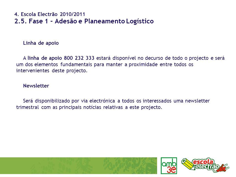 4. Escola Electrão 2010/2011 2.5. Fase 1 – Adesão e Planeamento Logístico Linha de apoio A linha de apoio 800 232 333 estará disponível no decurso de