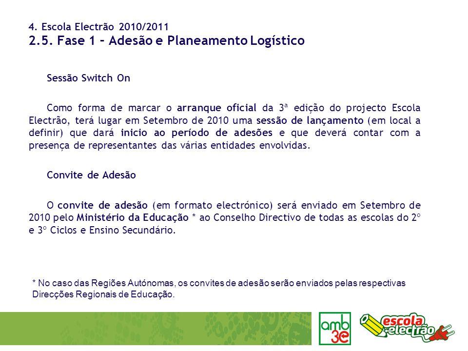 4. Escola Electrão 2010/2011 2.5. Fase 1 – Adesão e Planeamento Logístico Sessão Switch On Como forma de marcar o arranque oficial da 3ª edição do pro