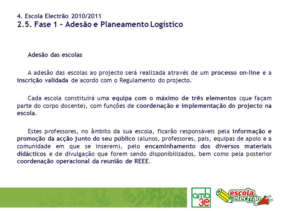 4. Escola Electrão 2010/2011 2.5. Fase 1 – Adesão e Planeamento Logístico Adesão das escolas A adesão das escolas ao projecto será realizada através d