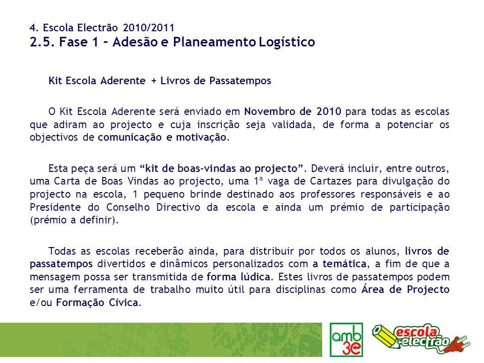 4. Escola Electrão 2010/2011 2.5. Fase 1 – Adesão e Planeamento Logístico Kit Escola Aderente + Livros de Passatempos O Kit Escola Aderente será envia