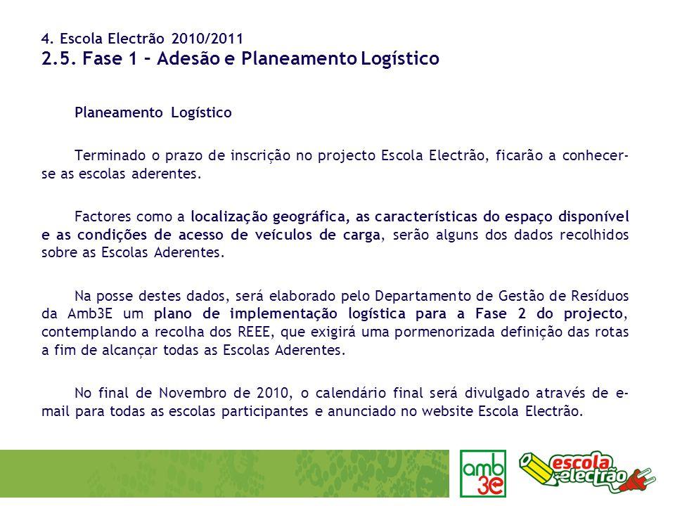 4. Escola Electrão 2010/2011 2.5. Fase 1 – Adesão e Planeamento Logístico Planeamento Logístico Terminado o prazo de inscrição no projecto Escola Elec