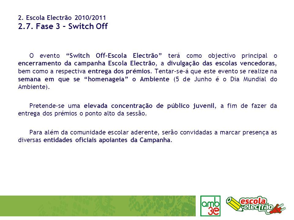 2. Escola Electrão 2010/2011 2.7. Fase 3 – Switch Off O evento Switch Off–Escola Electrão terá como objectivo principal o encerramento da campanha Esc