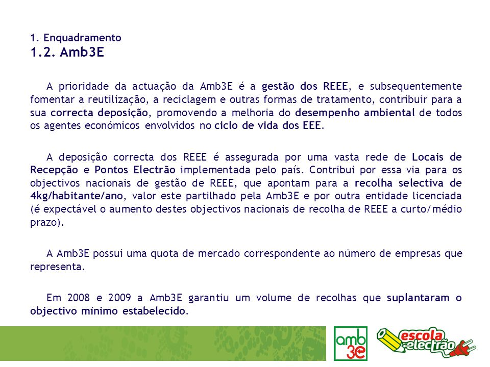 A prioridade da actuação da Amb3E é a gestão dos REEE, e subsequentemente fomentar a reutilização, a reciclagem e outras formas de tratamento, contribuir para a sua correcta deposição, promovendo a melhoria do desempenho ambiental de todos os agentes económicos envolvidos no ciclo de vida dos EEE.