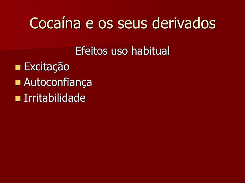 Cocaína e os seus derivados Sobredosagem Agitação Agitação Agressividade Agressividade Psicose Psicose Síncope cardíaca Síncope cardíaca