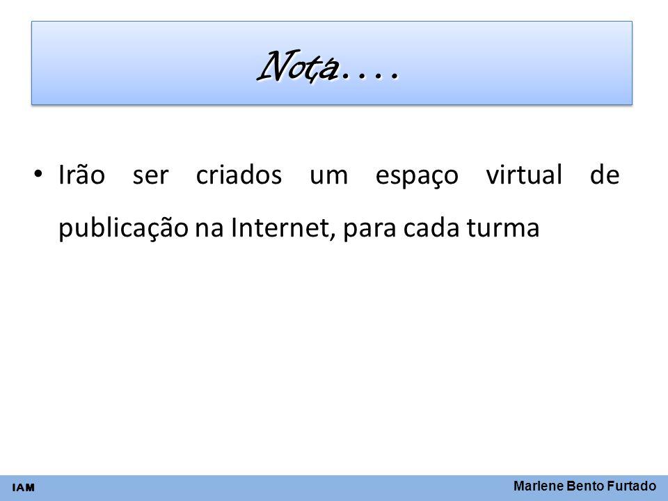 Marlene Bento Furtado IAM Nota….Nota…. Irão ser criados um espaço virtual de publicação na Internet, para cada turma