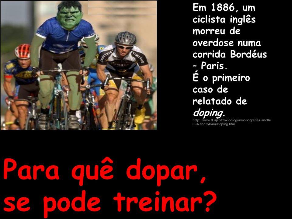 Em 1886, um ciclista inglês morreu de overdose numa corrida Bordéus – Paris. É o primeiro caso de relatado de doping. http://www.ff.up.pt/toxicologia/