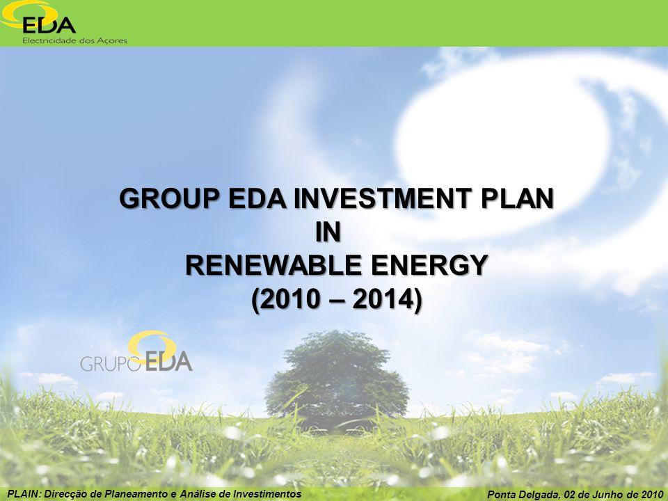 PLAIN: Direcção de Planeamento e Análise de Investimentos Ponta Delgada, 02 de Junho de 2010 GROUP EDA INVESTMENT PLAN IN RENEWABLE ENERGY (2010 – 2014)