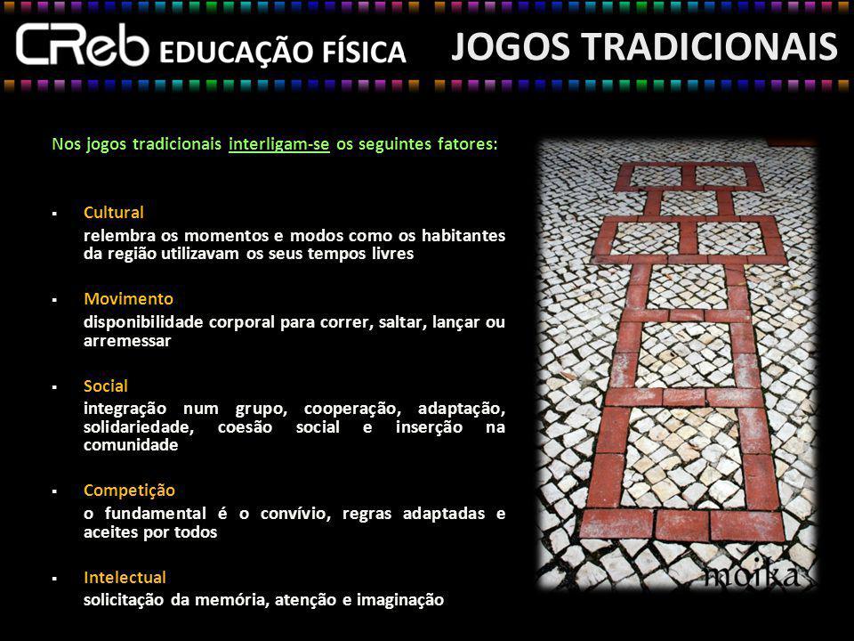 JOGOS TRADICIONAIS Nos jogos tradicionais interligam-se os seguintes fatores: Cultural relembra os momentos e modos como os habitantes da região utili