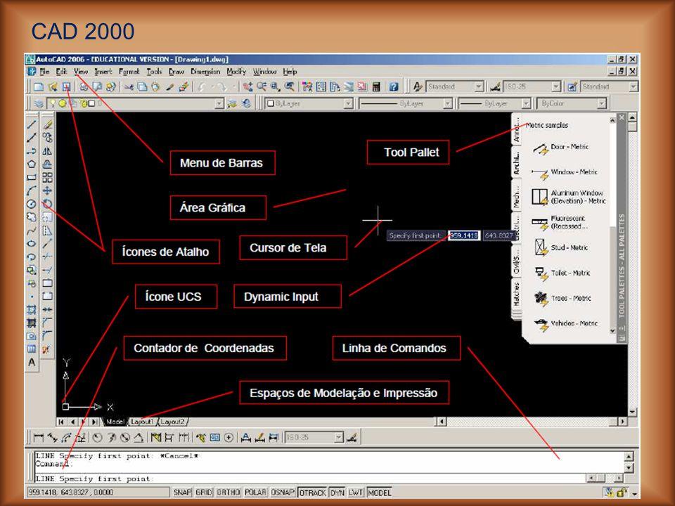 Local de visualização e utilização dos comados para construção e modificação dos desenhos.