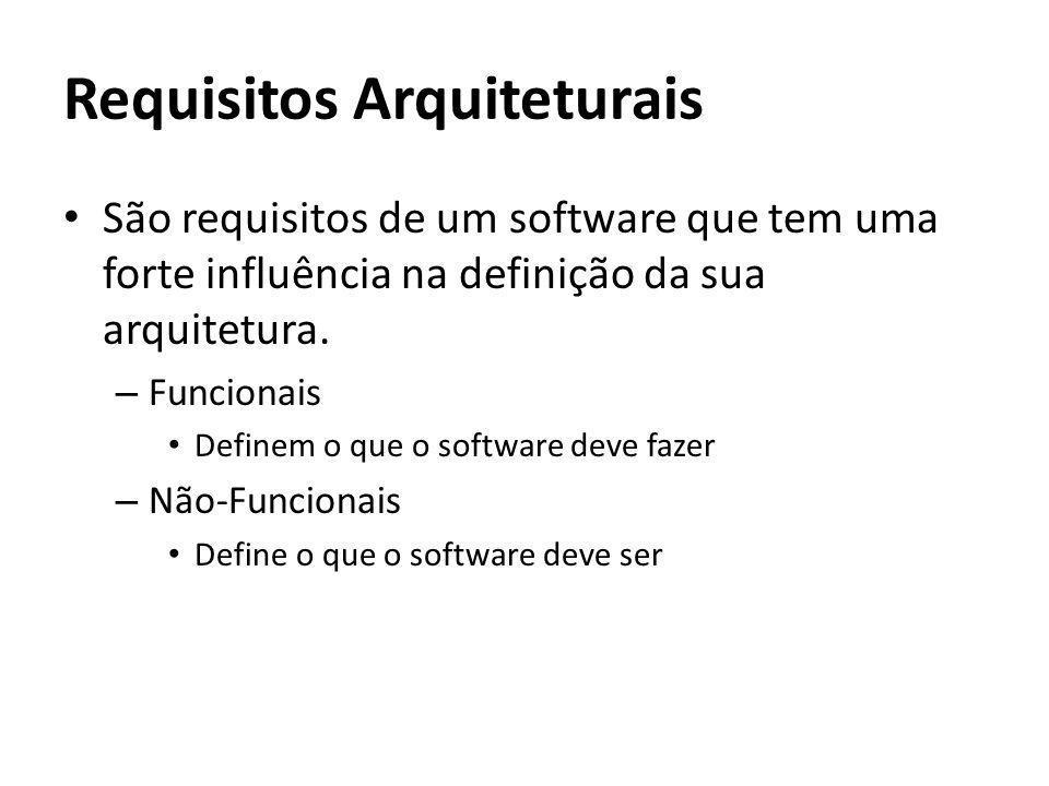Requisitos Arquiteturais São requisitos de um software que tem uma forte influência na definição da sua arquitetura. – Funcionais Definem o que o soft