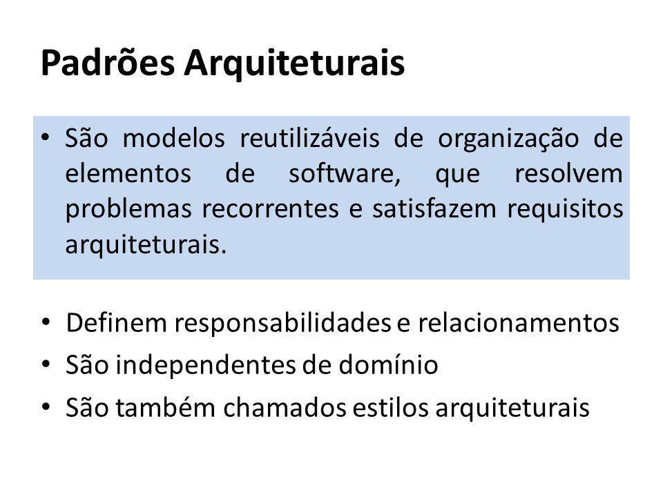 Padrões Arquiteturais São modelos reutilizáveis de organização de elementos de software, que resolvem problemas recorrentes e satisfazem requisitos ar