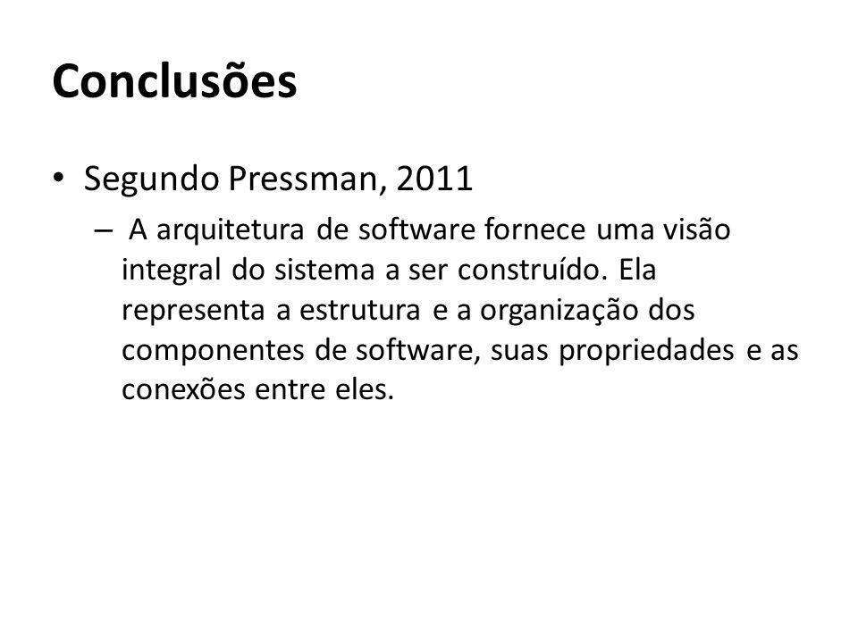 Conclusões Segundo Pressman, 2011 – A arquitetura de software fornece uma visão integral do sistema a ser construído. Ela representa a estrutura e a o